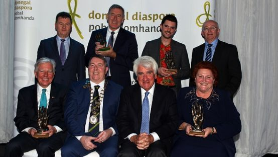 Award recipients pictured with Tom O'Neill from Boston, Cathaoirleach of Donegal County Council Cllr. Gerry Mc Monagle, Chief Executive Seamus Neely and Head of Enterprise, Michael Tunney