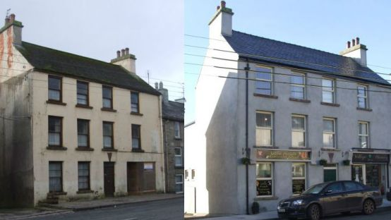 Picture of Dunlevy House before and after restoration work