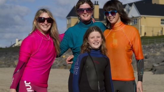 Image of Easkey Britton (first on left) and her cousins in Rossnowlagh