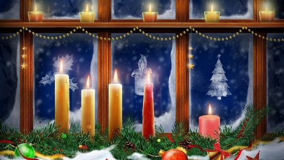 painting of several lit candles by the window on a winters night