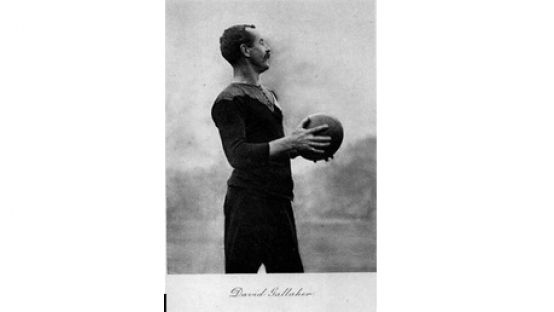 Dave Gallaher with a Rugby Ball