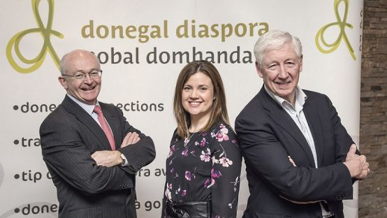 Kingsley Aikins pictured with Joanne Kilmartin, Donegal Diaspora Executive and Michael Tunney, Head of Enterprise