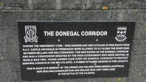 Image of the memorial plaque of the Donegal Corridor, black with white text set on a wall