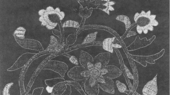 black and white image of kells embroidery