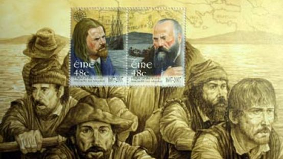 Image of Flight of the Earls stamp, superimposed on sepia painting