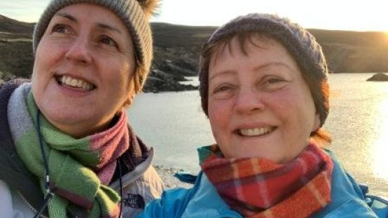 Grace Gerry pictured with her sister on a recent trek in Donegal