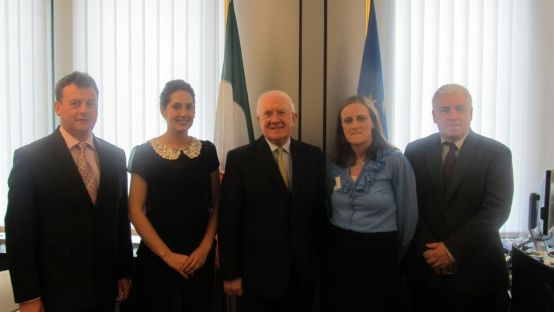 Image of visit to Brussels of Michael Heaney, Seamus Neeley and Pat the Cope Gallagher