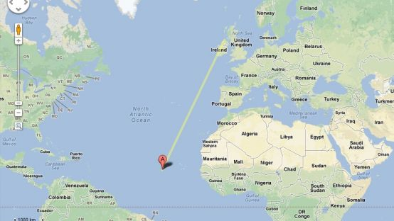 Map charting the journey of Banba the shark from Malin Head to Cape Verde