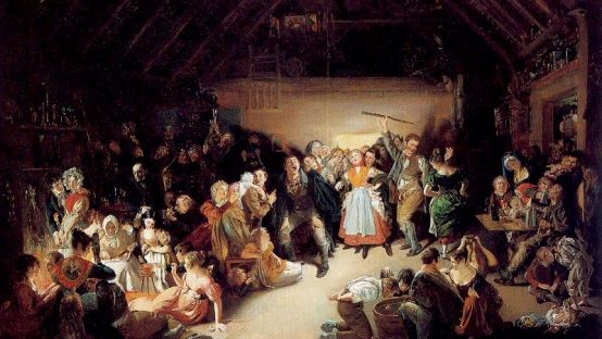 Painting of an Irish Halloween celebration. Dimly lit room of people feating and playing games.