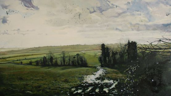 Image of Anns painting The Burn Fields, oil on board, 71 x 117 cm