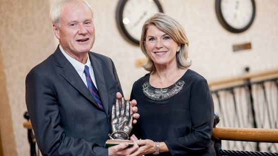 Chris Matthews and his wife Kathleen Matthews receiving the 2016 Tip O'Neill Irish Diaspora Award