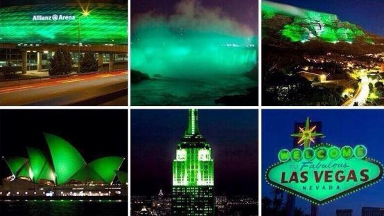 Iconic sites worldwide turn green