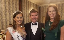Daniel O' Donnell pictured with the 2019 Mary from Dungloe winner, Roisin Maher from NYC and Ciara Travers, VP Donegal Association, Philadelphia