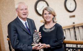 Chris Matthews and his wife Kathleen Matthews receiving the 2016 Tip O'Neill Irish Diaspora Award