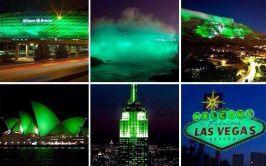 Iconic sites worldwide turn green