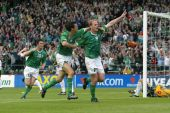 Gary Doherty celebrates in the Irish Jersey at Landsdowne Road