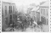 Black and white image of a bustling Ballyshannon town street