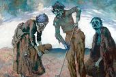 Image of painting of three figures burying a child