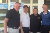 John Farren with Jon Mahoney BIBA & others after a round of golf at Ballyliffen Golf Club