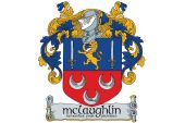 Image of the McLaughlin coat of arms, a lion between two swords, over 3 upturned crescents