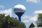 Image of a blue and white Moville Watertower