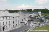 Re-Photographic image of Rathmullan with black and white horses and carts