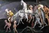 painting of the Fomorians - a deformed group, one on horseback